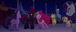 Pinkie leans her ear toward Tempest Shadow