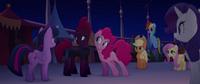 Pinkie leans her ear toward Tempest Shadow