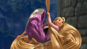 Rapunzel giggling as she leaves her tower