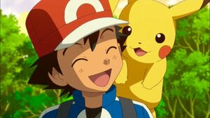 Ash's Laughing with Pikachu