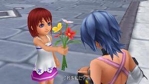 Kairi give Aqua a flowers