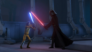 Darth Vader strides