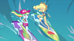 Rainbow and Applejack surfing side-by-side EGDS19