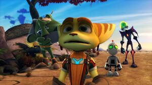 Ratchet, Clank, Qwark and Nefarious in Magnus