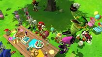 Sonic and his friends at Sonic's Birthday Party