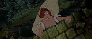 Anastasia hanging for her life on a broken bridge