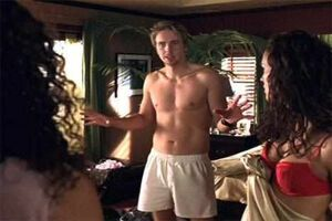 Tom Marshall (Dax Sheppard) in Without a Paddle in his boxer shorts trying to explain the situation