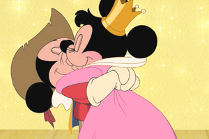 Mickey and Minnie's smooch of victory