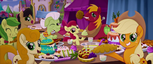 Applejack and her Family at the Festival Banquet