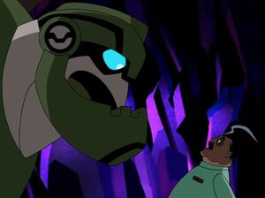 Bulkhead and Isaac Sumdac in Megatron's Hide-Out.