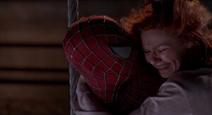 Spider-Man talking to Mary Jane
