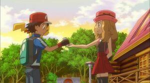 Serena give gift to Ash
