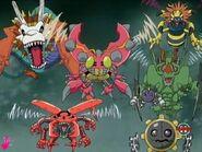 Tentomon with Flymon, Snimon, Thundermon, Hagurumon, Airdramon and Kuwagamon