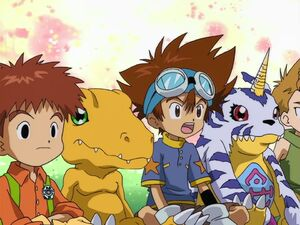 Kids and Digimon listening Leomon