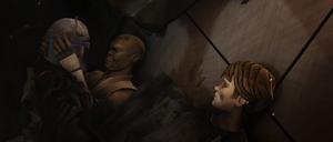 Mace Windu and Skywalker trapped