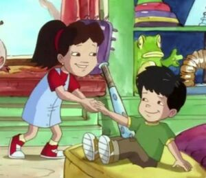 PBS Kids's Dragon Tales Big Sister Emmy helps Max out.