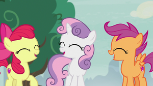 Cutie Mark Crusaders laughing about Spike S7E8