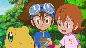 Agumon, Taichi, Izzy and Sora