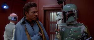 Lando Calrissian facing Boba Fett