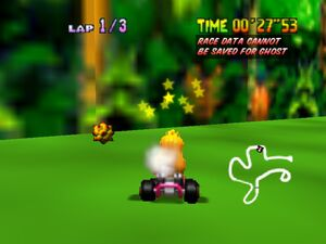 Mario Kart 64 peach getting hit on the head with a coconut with thorns in DK's Jungle Parkway