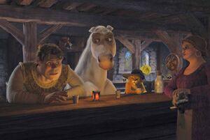 Puss Shrek And Donkey At The Bar