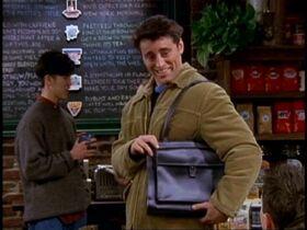 Joey modelling his man-bag