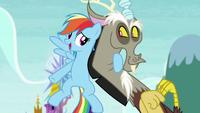 Rainbow Dash hugging Discord S5E22
