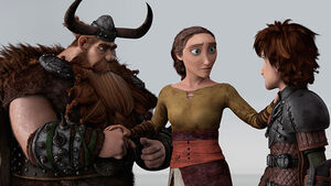 Valka with Stoick and Hiccup