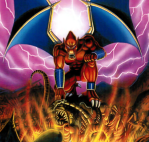 Demon's Crest - Firebrand as he appears on the Japanese Front Box Cover of Demon's Blazon