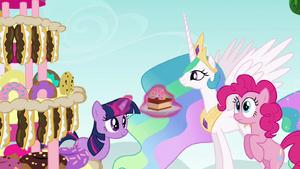 Twilight Giving Princess Celestia a Slice of Cake