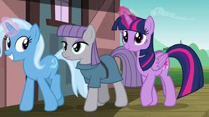 Trixie, Maud, and Twilight join Starlight and Sunburst S7E24