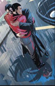 Bruce and Jason Todd hugs.
