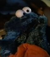Cookie Monster looking at the stars