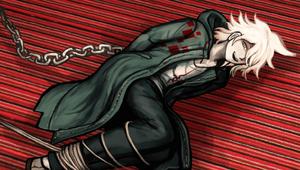 Nagito Komaeda tied up in ropes and chains