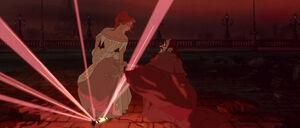 Anastasia overpowering Rasputin by smashing his reliquary
