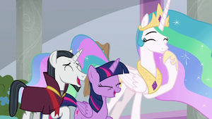 Twilight, Celestia, and Neighsay laughing S8E26