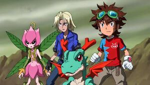 Mikey, Lillymon, Dracomon and Christopher.