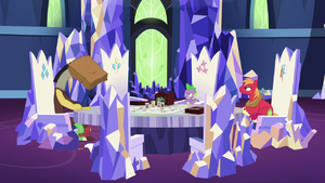 Spike and Big Mac look at ashamed Discord S6E17