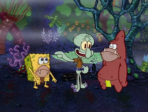 Squidward with ancient Sponge and ancient Star