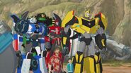 Bumblebee, Russell, Denny, Grimlock, Strongarm and Sideswipe