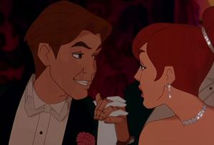 Dimitri smiling kindly towards Anastasia