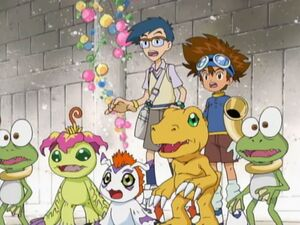 Taichi, Joe, Agumon, Gomamon and Palmon with Two Gekomon.