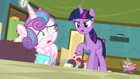 Twilight Sparkle scolding Flurry Heart S7E3