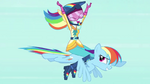 Human Rainbow Dash flying on top of pony Rainbow Dash EG3b