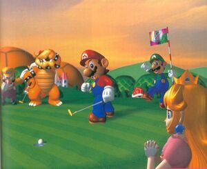Mario, Luigi, Peach, Wario and Bowser at Koopa Park