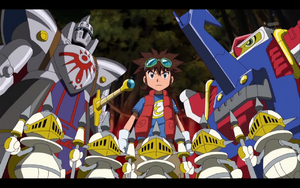 Mikey, Knightmon, PawnChessmons and Shoutmon X2