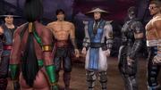 Jade-informing the warriors about Kitana's capture