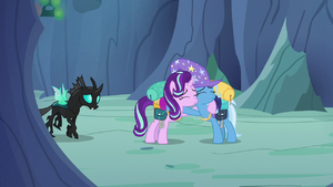 Starlight Glimmer and Trixie hugging S6E26