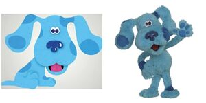Blue cartoon and puppet