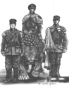 Geofront soldiers & Lion borg (Rifts World Book, China 2 Heroes of the Celestial Court)
